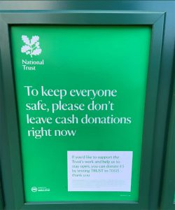 National Trust | Don't leave cash donations sign