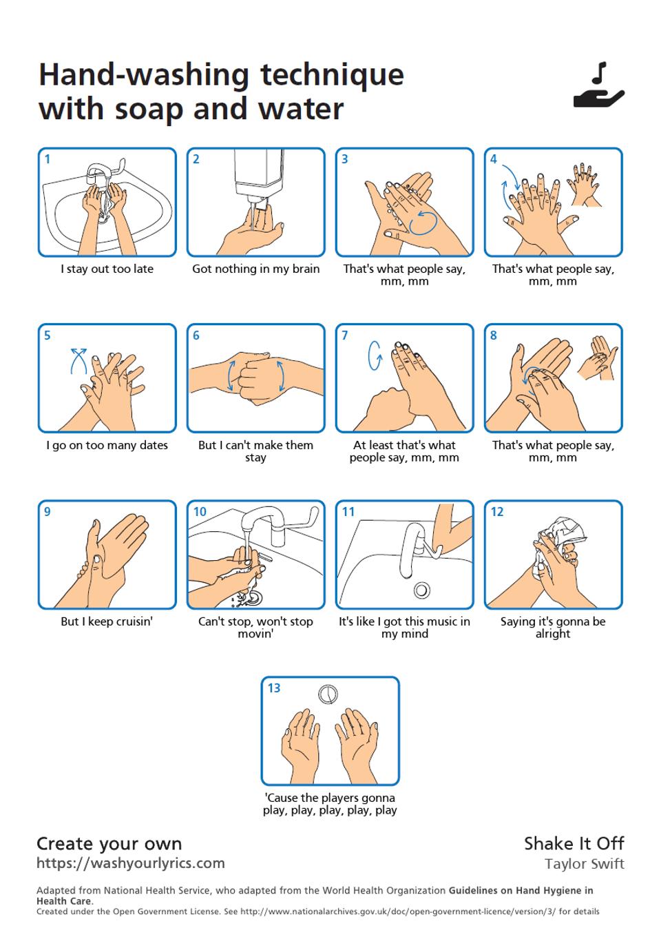 """Hand-washing technique diagram using lyrics from Taylor Swift's """"Take It Off""""."""